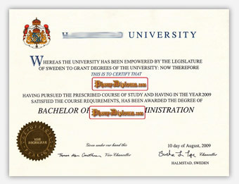 Halmstad University - Fake Diploma Sample from Sweden